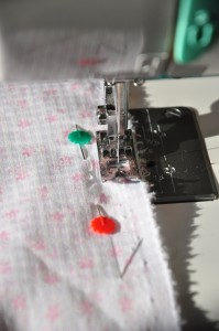 sew along the length of fabric